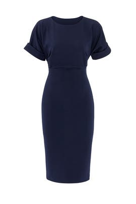 Navy Cuff Sleeve Dress by Badgley Mischka