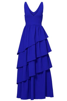 Blue Tiered Ruffle Gown by Osman