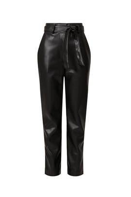Faux Leather Tie Waist Pants by Peter Som Collective