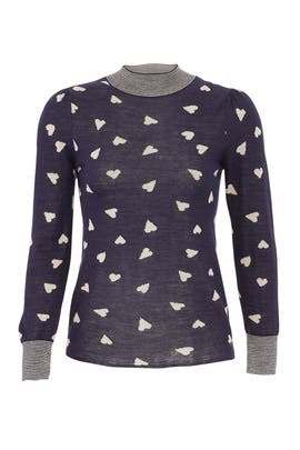 Navy Heart Pullover by Rebecca Taylor