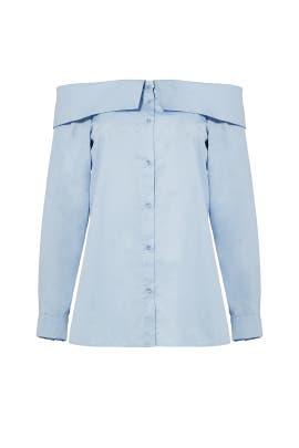 Blue Satin Poplin Off Shoulder Shirt by Tibi
