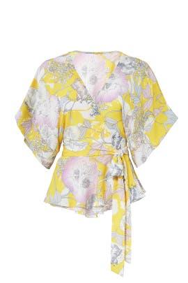 Yellow Floral Wrap Top by Yumi Kim