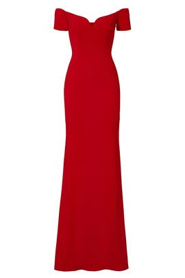 Red Sweetheart Off Shoulder Gown by Badgley Mischka