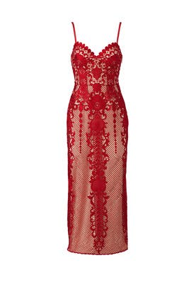 Red Lace Lena Dress by CATHERINE DEANE
