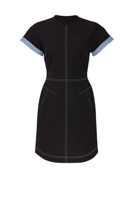 Black Short Sleeve Crew Neck Dress by Derek Lam 10 Crosby