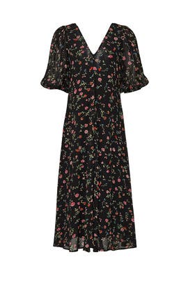 Black Printed Midi Dress by GANNI