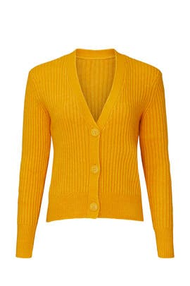 Yellow Ribbed Cardigan by Halogen