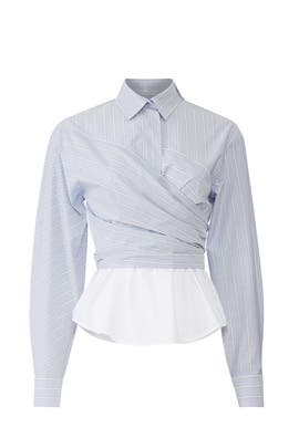 Wrap Front Stripe Blouse by Cedric Charlier