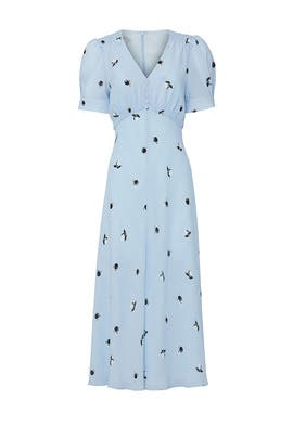 Blue Printed V-Neck Dress by Jason Wu