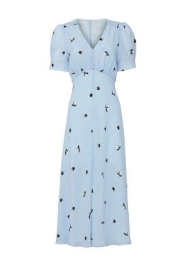 Blue Printed V-Neck Dress by Jason Wu