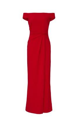 Red Off the Shoulder Gown by Lauren Ralph Lauren