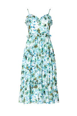 Floral Ruffle Trim Dress by Badgley Mischka