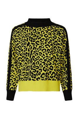 Neon Yellow Leopard Sweater by Central Park West