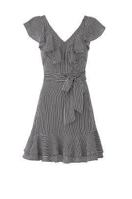 Stripe Ruffle Faux Wrap Dress by J.O.A.