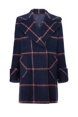 Navy Plaid Coat by KENDALL + KYLIE