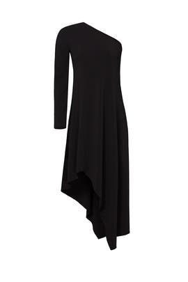 Black Asymmetrical Midi Dress by Narciso Rodriguez