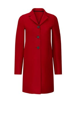 Red Boxy Wool Coat by Harris Wharf London