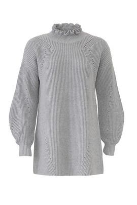 Grey Ruffled Neck Sweater by 525 America