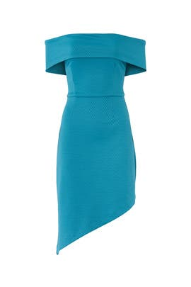 Blue Off Shoulder Asymmetric Dress by Slate & Willow