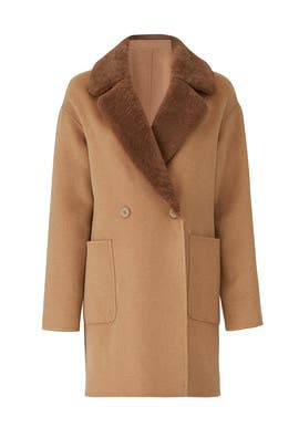 Dawn Faux Shearing Collar Coat by Trina Turk
