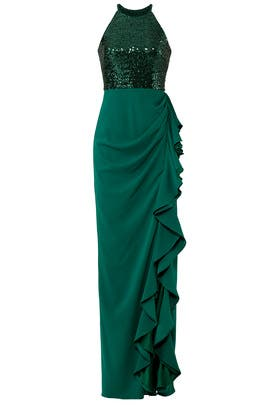 Sequin Ruffle Gown by Badgley Mischka