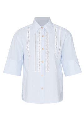 Lace Trim Short Sleeve Shirt by Coach