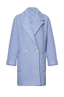 Powder Blue Oversized Boucle Coat by English Factory
