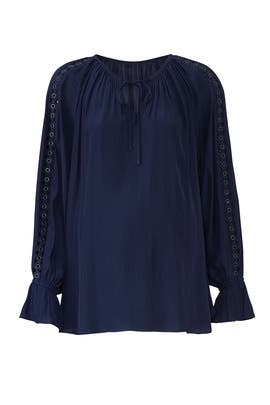 Navy Trace Maternity Top by FOR 2 by Ramy Brook