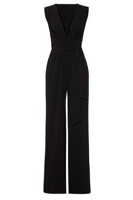 Black Wide Leg Jumpsuit by HALSTON