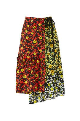 Asymmetric Floral Wrap Skirt by Proenza Schouler