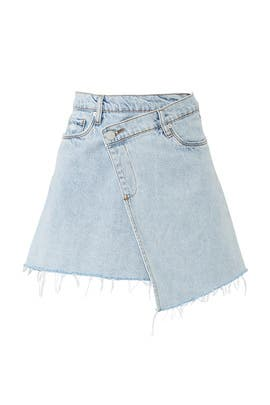 Acid Wash Asymmetric Denim Skirt by BlankNYC