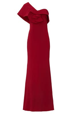 Ruby One Shoulder Gown by Badgley Mischka
