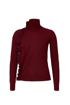 Red Ruffle Turtleneck by Victoria Victoria Beckham