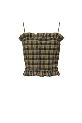 Green Plaid Crop Top by GANNI
