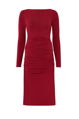 Crimson Pleated Maternity Dress by Ingrid & Isabel