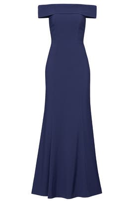 Navy Off Shoulder Gown by Laundry by Shelli Segal