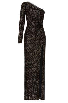 One Shoulder Velvet Sequin Gown by ML Monique Lhuillier
