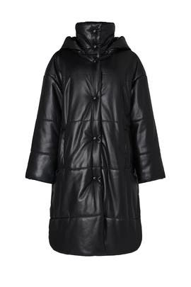 Eska Faux Leather Puffer Coat by Nanushka