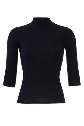 Navy Fitted Turtleneck Top by Theory