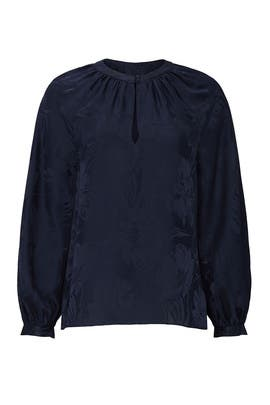 Navy Floral Amy Top by Tanya Taylor