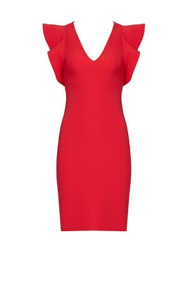 Red True Love Ruffle Dress by Yoana Baraschi