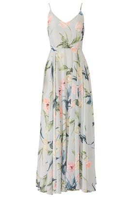 Light Green Peace And Love Maxi by Yumi Kim