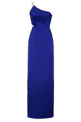 Royal Blue Satin Dress by Aidan AIDAN MATTOX