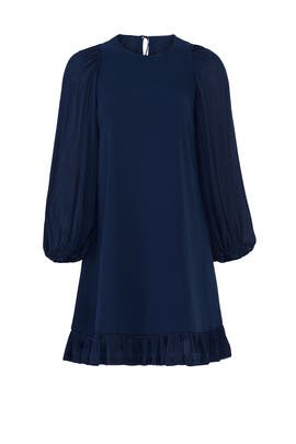 Blue Ruffle Hem Dress by Halston Heritage