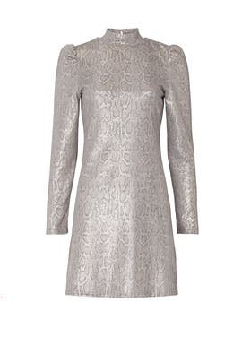 Metallic Snake Puff Sleeve Dress by Slate & Willow