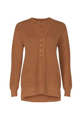 Brown Henley Sweater by Thakoon Collective