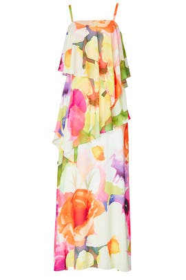 Floral Ruffle Maxi by Josie Natori