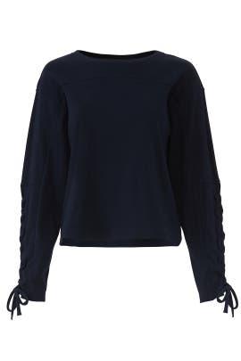Navy Tie Sleeve Sweatshirt by Slate & Willow