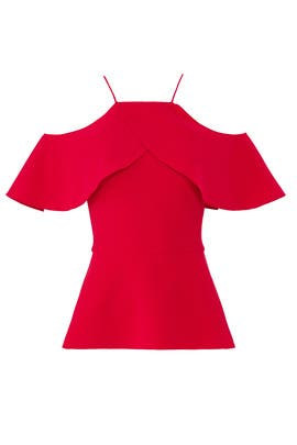 Red Cold Shoulder Top by Christian Siriano