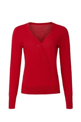 Red Surplice Sweater by Halogen